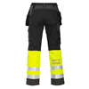 Safety work trousers, black/grey/yellow